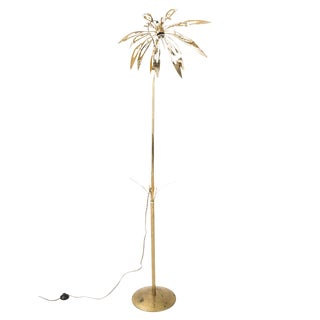 Brass Floral Lamp in the Style of Gabriella Crespi