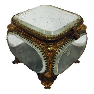 Antique Glass Jewelry Casket Box