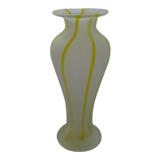 Vintage Striped and Frosted Murano Glass Vase