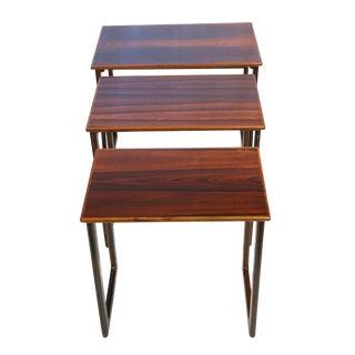 Danish Rosewood Square Leg Nesting Tables - Set of 3