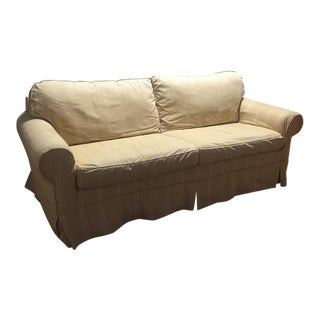 Beige Pinstriped Slip-Cover Sofa