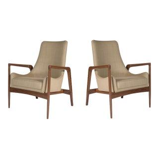 Pair of Warren Walnut Lounge Chairs
