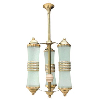 French Art Deco 3 Light Lantern Chandelier