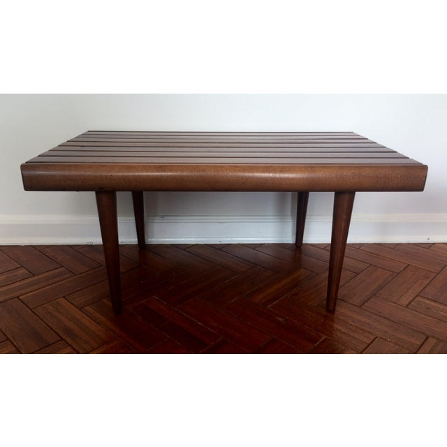 Mid-Century Modern Walnut Slat Bench - Image 2 of 7