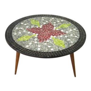 Mid-Century Modern Round Mosaic Coffee Table