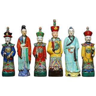 Chinese Porcelain Qing Emperor Figural Group - Set of 6