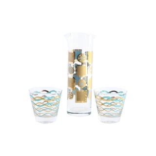 Mid-Century Blue & Gold Martini Set