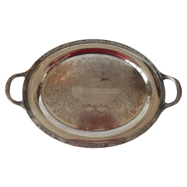 Image of English Silver Plated Tray With Handles