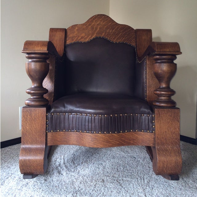 Antique Mission Style Oak & Leather Rocking Chair - Image 2 of 10
