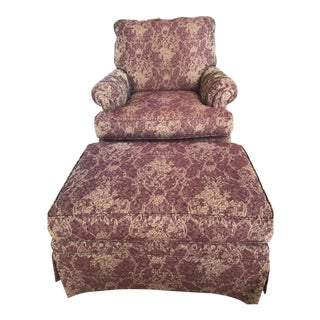 Ethan Allen Mr. Chair Burgundy and Gold Floral Club Chair with Ottoman