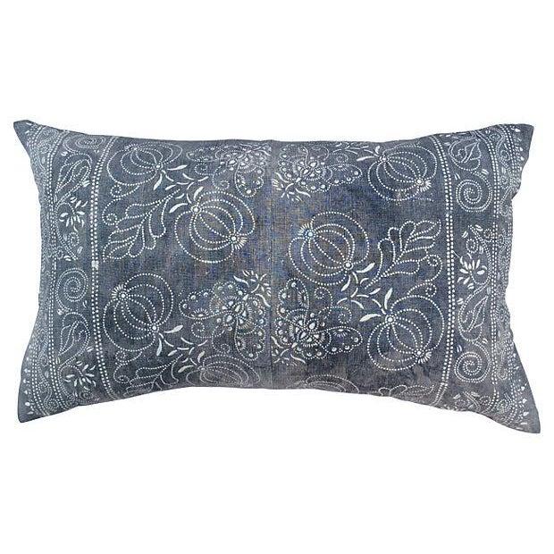 Image of Smokey Gray Batik Pillow with Butterflies