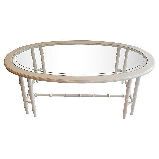 Oval Faux-Bamboo Coffee Table - Image 1 of 6
