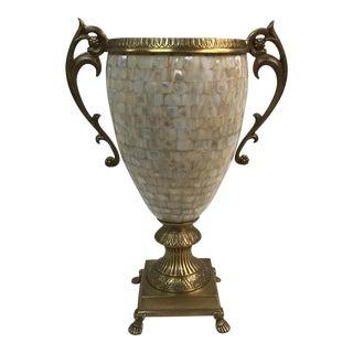 Vintage Mother-Of-Pearl & Brass Vase