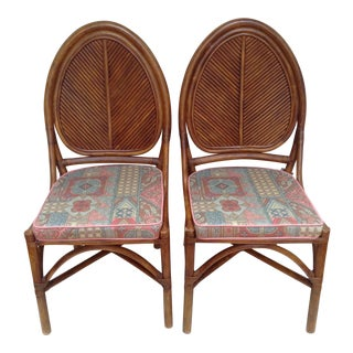 Mid-Century Bamboo Leaf Back Chairs - A Pair