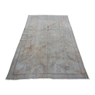 Mid 20th C. Vintage Antique Tribal Oushak Neutral Soft Hand Knotted Turkish Rug - 4'10 X 7'10