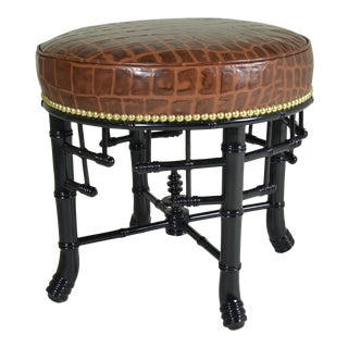 Regency Style Faux Bamboo Stool with Leather Cover
