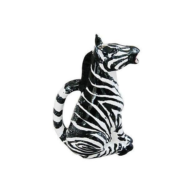 Vintage Hand Painted Italian Ceramic Zebra Pitcher - Image 4 of 7
