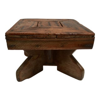 Folk Art Rustic Primitive Wood Stool