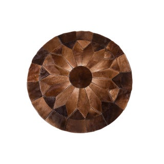 """Round Cowhide Patchwork Area Rug - 5'10"""""""