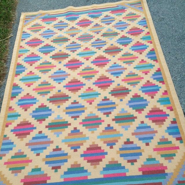 Flat Woven Wool Kilim Rug- 6' x 9' - Image 5 of 10