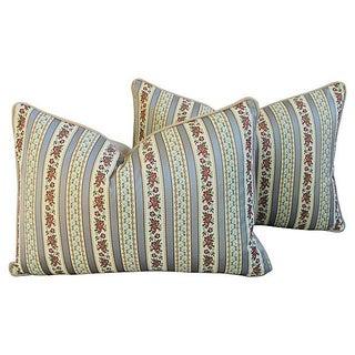 Designer Italian Brocatelle Silk Pillows - Pair