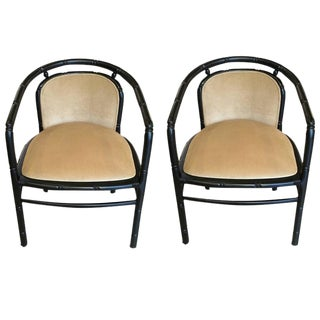 Black Faux Bamboo with Camel Velvet Upholstery Chairs - A Pair