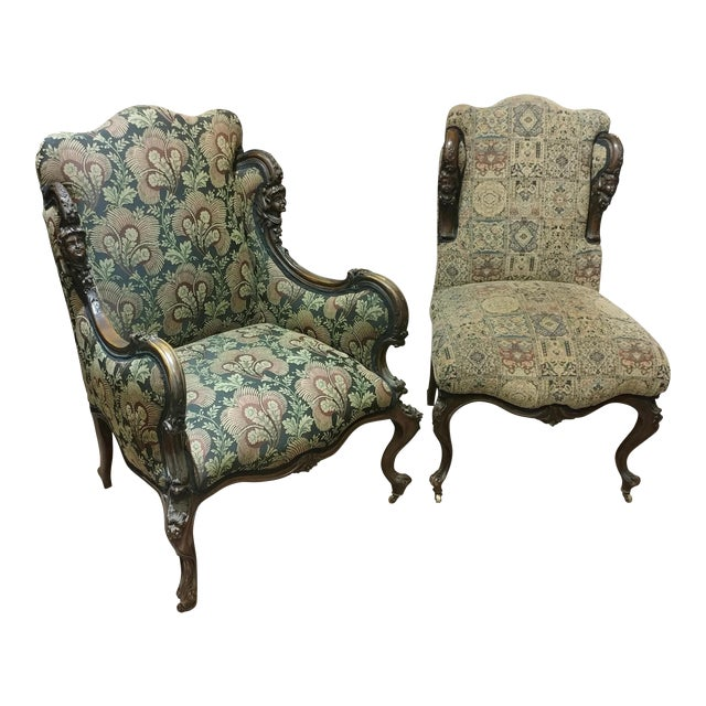 19th Century Victorian Tapestry Chairs - A Pair - Image 1 of 10