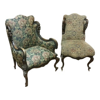19th Century Victorian Tapestry Chairs - A Pair