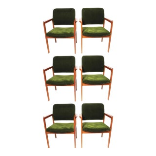 Scandiline Vintage Green Velvet Chairs - Set of 6