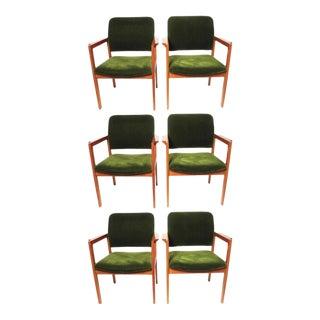 Scandiline Vintage Green Velvet Chairs - Set of 6