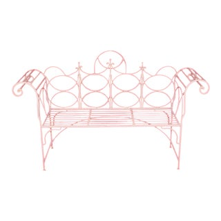 Vintage Wrought Iron Gothic Priory Style Garden Bench