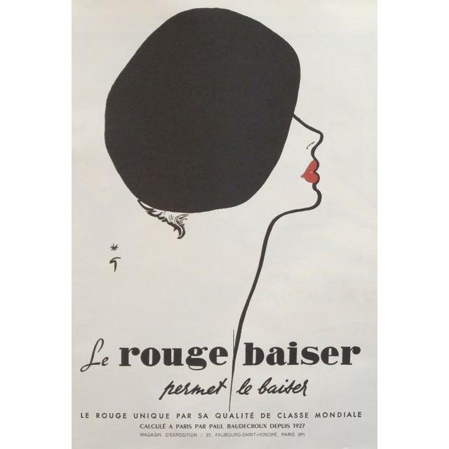 Original Rene Gruau French Rouge Baiser Poster - Image 1 of 2