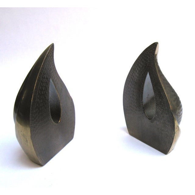 "Ben Seibel Brass ""Flame"" Bookends - A Pair - Image 3 of 3"