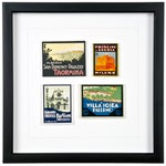 Image of Framed Vintage Athens Hotel Luggage Labels