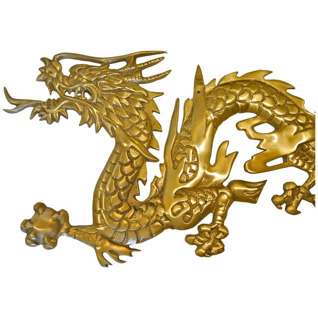 Large Brass Wall Hanging Dragons - A Pair - Image 6 of 7