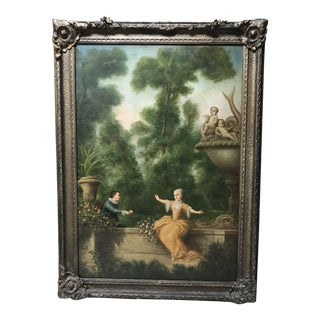 Antique French Oil Painting on Canvas