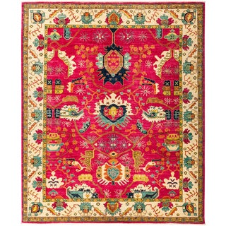 """Eclectic, Hand Knotted Pink Wool Area Rug - 8' 2"""" X 9' 10"""""""