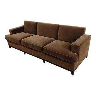 Brown Mohair 3 Seater Sofa