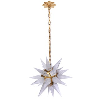 Quartz Star Pendant Light with Antique Brass Frame