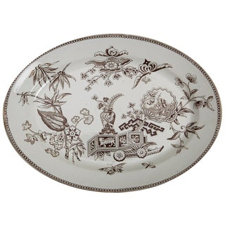 English Ironstone Brown Transfer Ware Platter