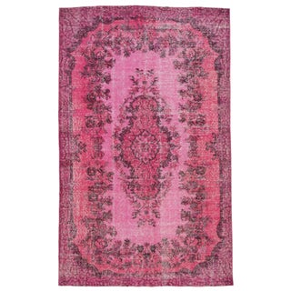 "Multi Pink Medallion Turkish Rug - 5' 7"" x 8' 10"""