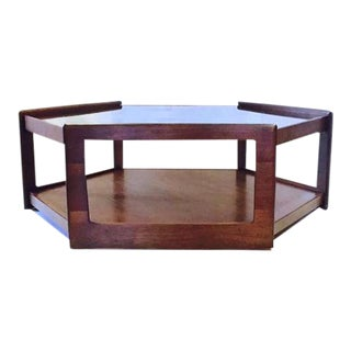 Mid Century Modern Hexagon Coffee Table Walnut & Smoky Glass Top