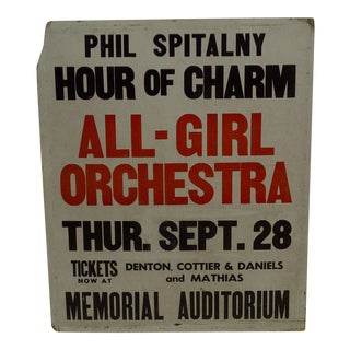 """Circa 1950 Vintage Phil Spitalny Hour of Charm """"All Girl Orchestra"""" Poster"""