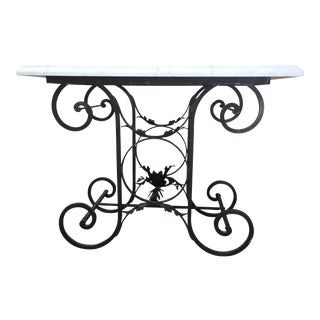 White Marble Top Mediterranean Iron Console Table