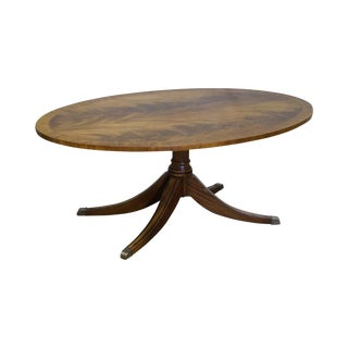Ethan Allen Flame Mahogany Oval Newport Coffee Table