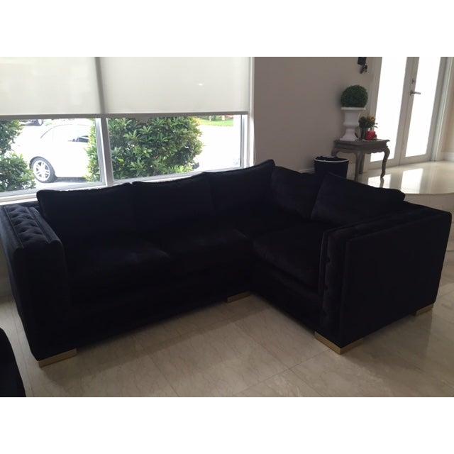 Black Croc Velvet Sectional Sofa