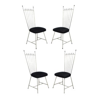 Vintage Frederic Weinberg Salterini Style Mid-Century Modern Metal Dining Chairs - Set of 4