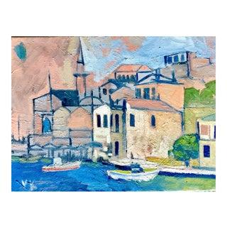 """""""Mediterranean Harbor"""" Original Oil Painting"""