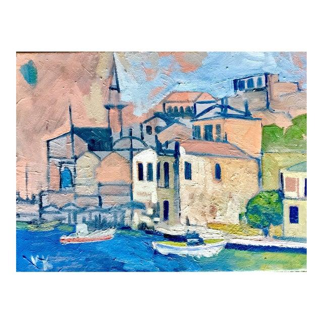 """Mediterranean Harbor"" Original Oil Painting - Image 1 of 3"