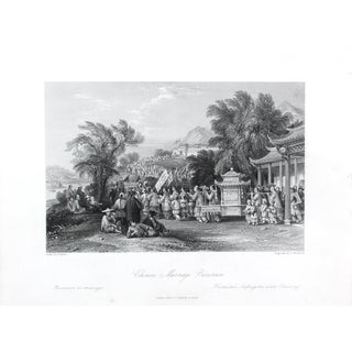 "1845 Antique ""Chinese Marriage Procession"" Engraving"